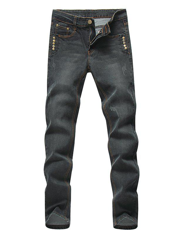 Rivets Embellished Straight Zipper Fly Denim Pants - DEEP GRAY 29