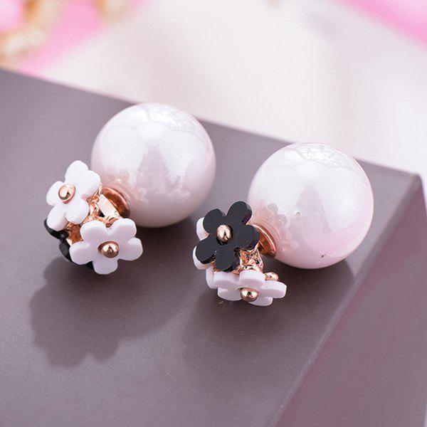 Pair of Double Ended Flowers Faux Pearl Stud Earrings - WHITE