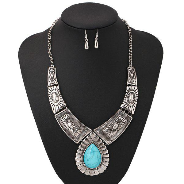 A Suit of Chic Water Drop Faux Turquoise Necklace and Earrings For Women - SILVER