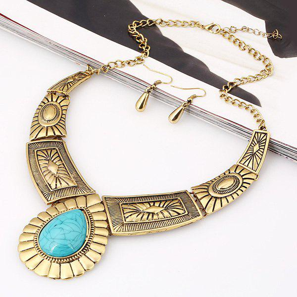 A Suit of Chic Water Drop Faux Turquoise Necklace and Earrings For Women ix e yh815