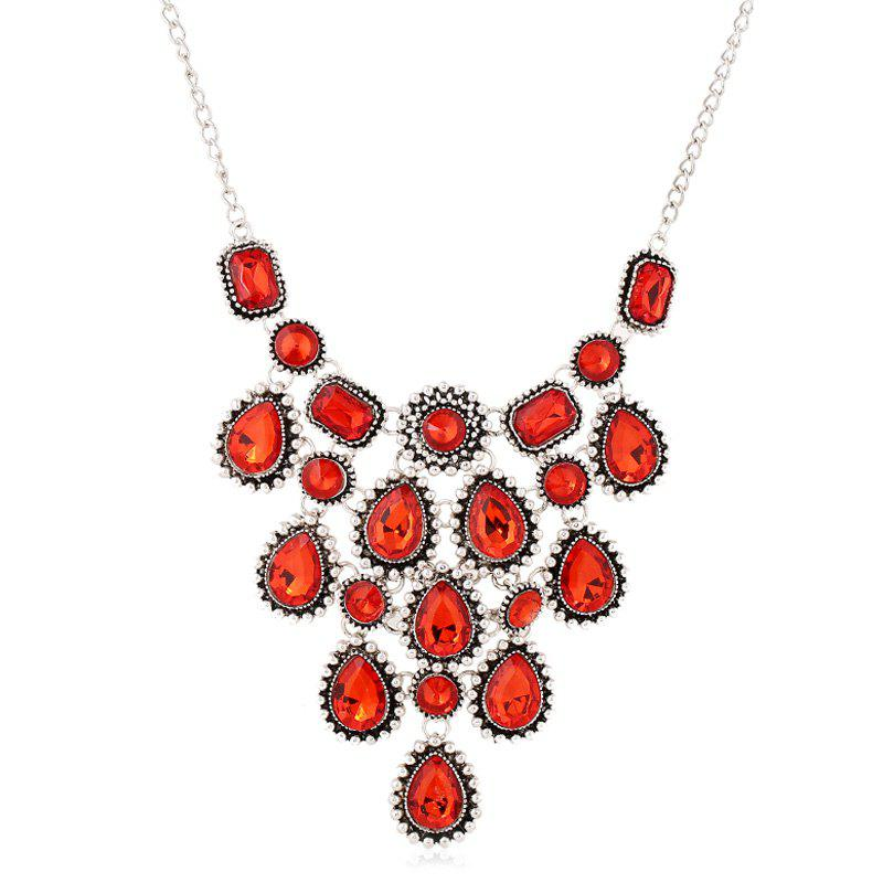 Chic Faux Crystal Water Drop Sweater Chain Jewelry For Women - RED