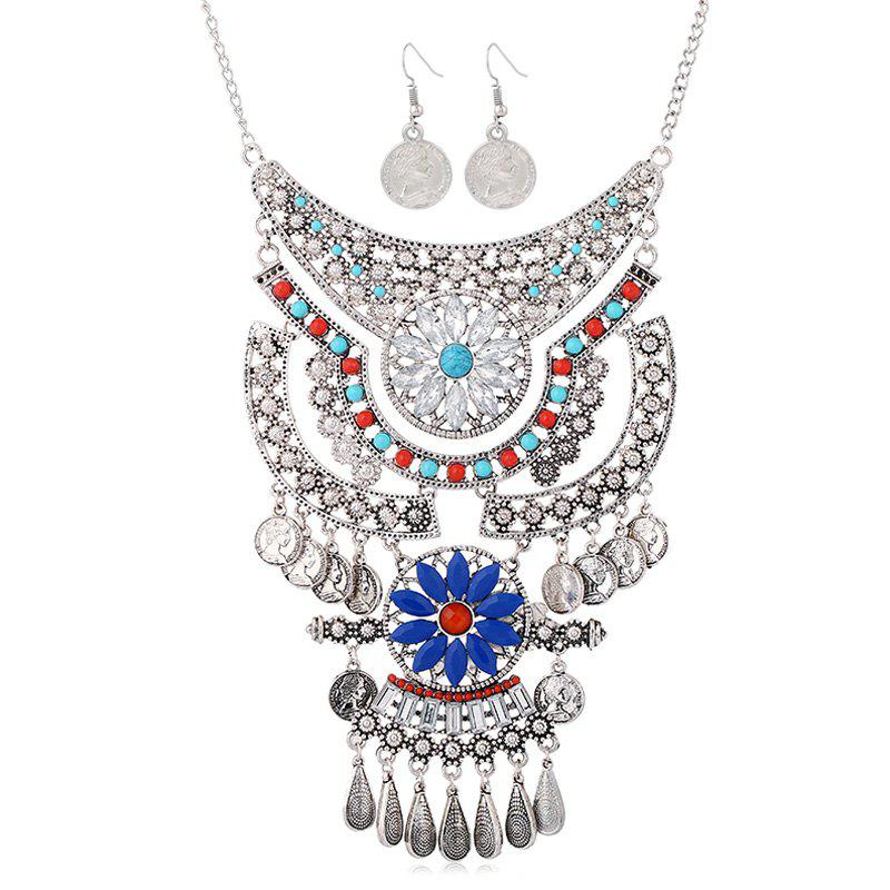 A Suit of Coin Water Drop Necklace and Earrings - SILVER