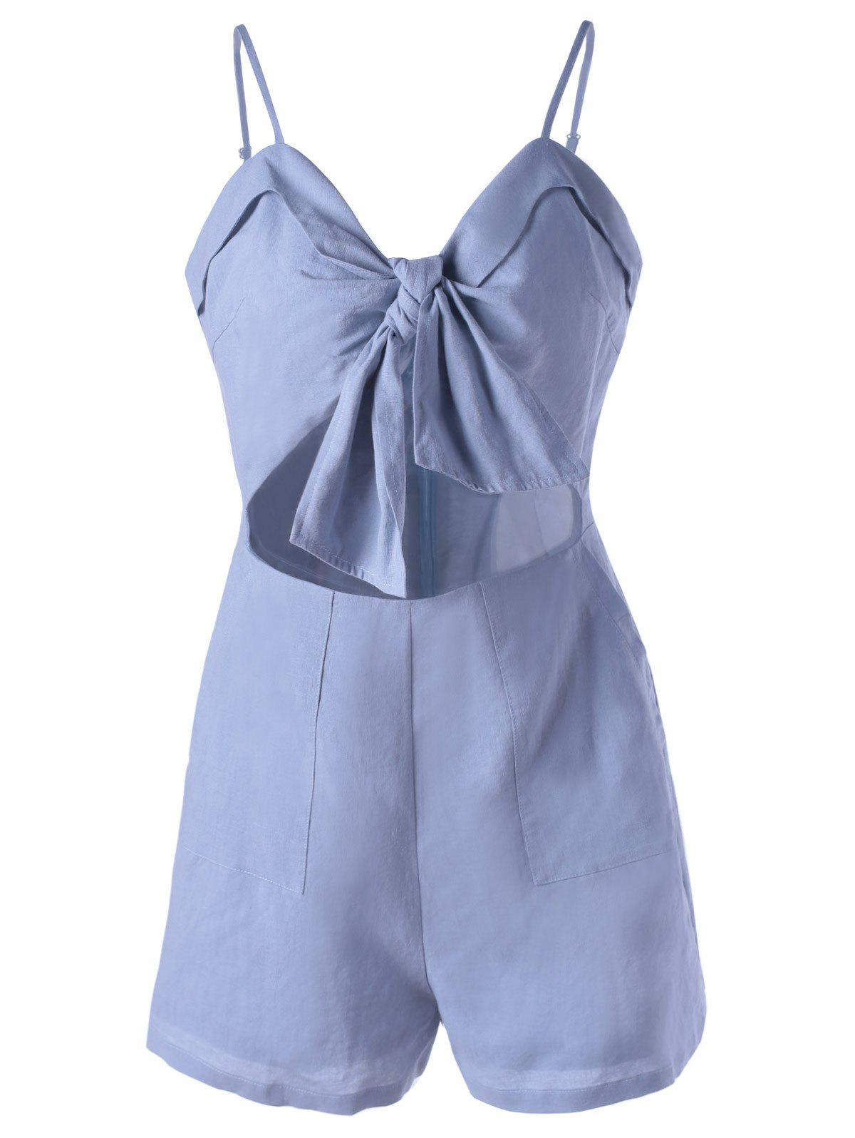 Fashionable Cut-Out Spaghetti Strap Romper For WomenWomen<br><br><br>Size: M<br>Color: LIGHT BLUE