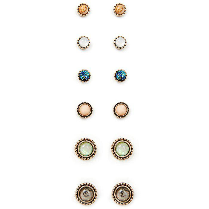 A Suit of Rhinestone Stud Earrings - COLORMIX