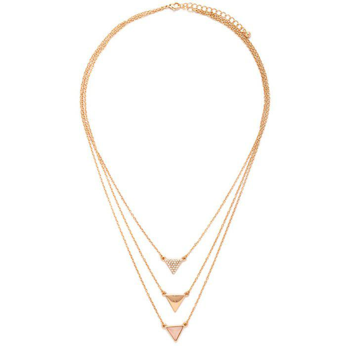 Layered Rhinestone Triangle Necklace - GOLDEN