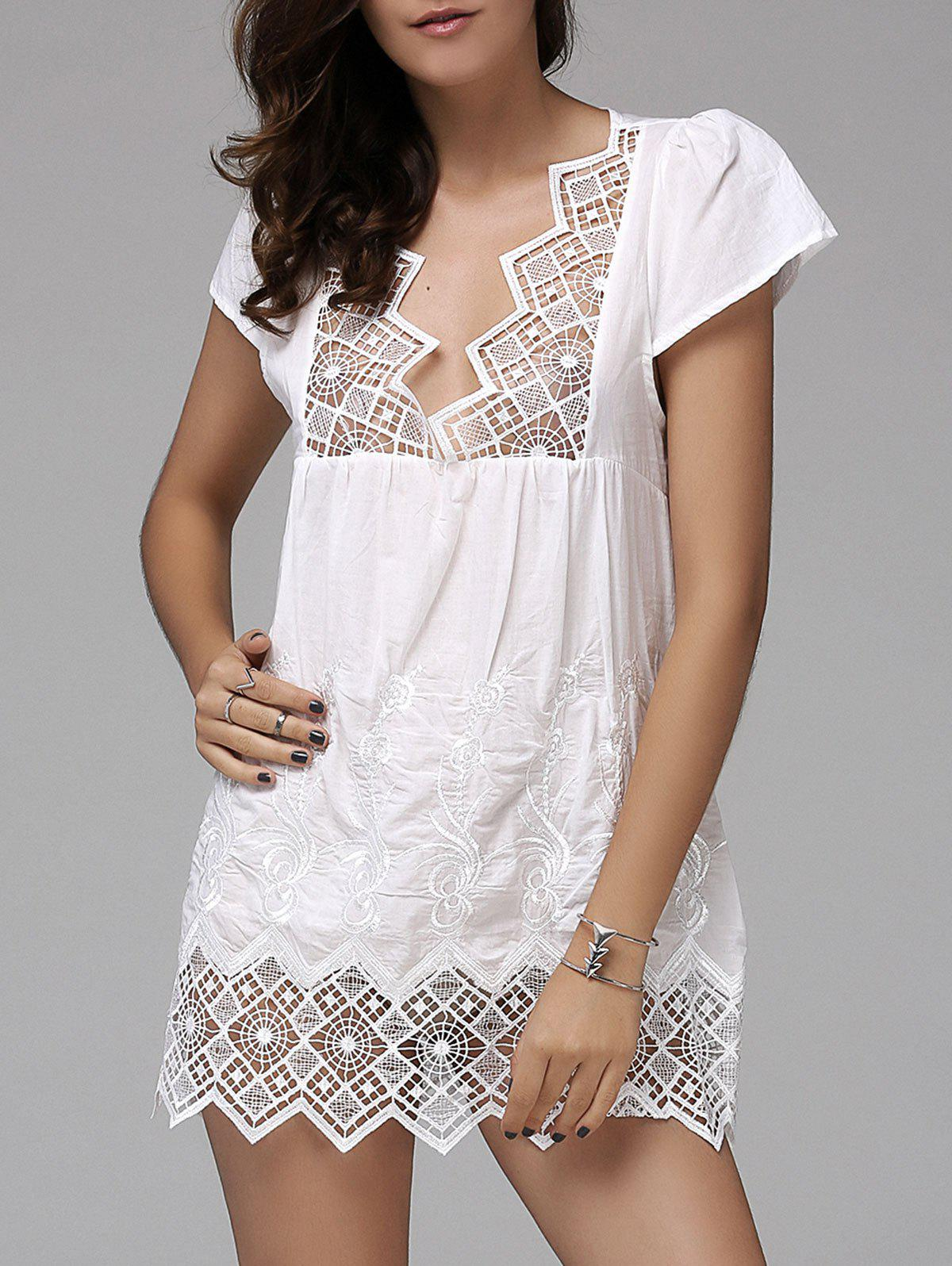 Fashionable Women's Plunging Neck Short Sleeve Crochet Top - WHITE S