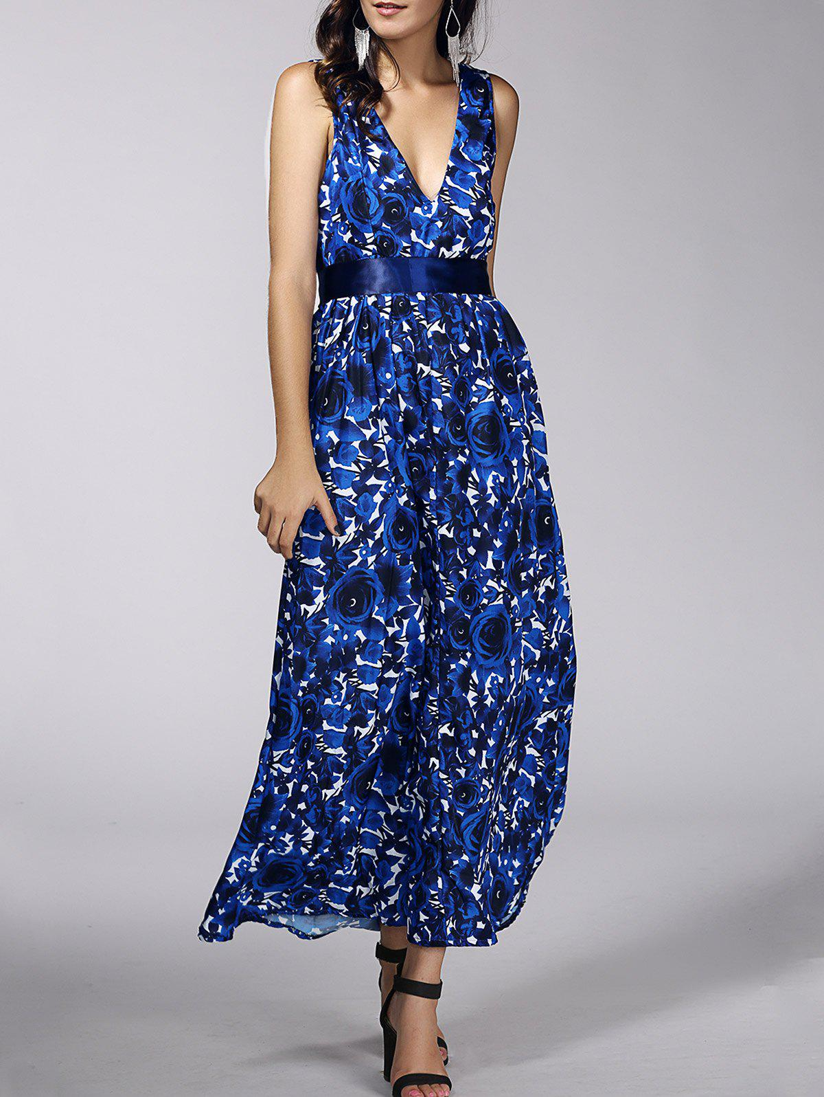 Fashionable Women's Plunging Neck Floral Print Belted Dress - BLUE XL