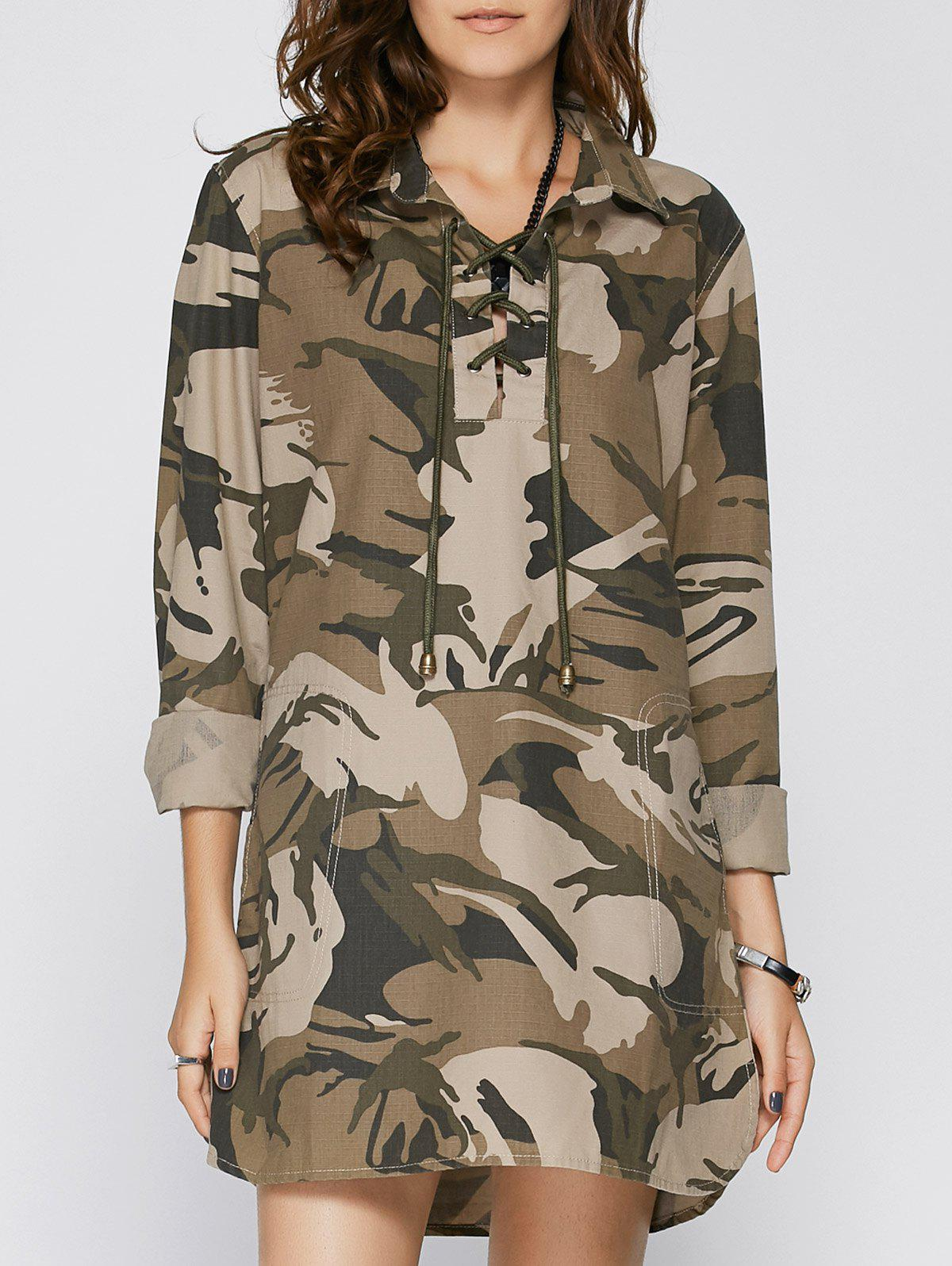 Stylish Women's Shirt Collar Long Sleeve Lace-Up Camo Dress - CAMOUFLAGE S