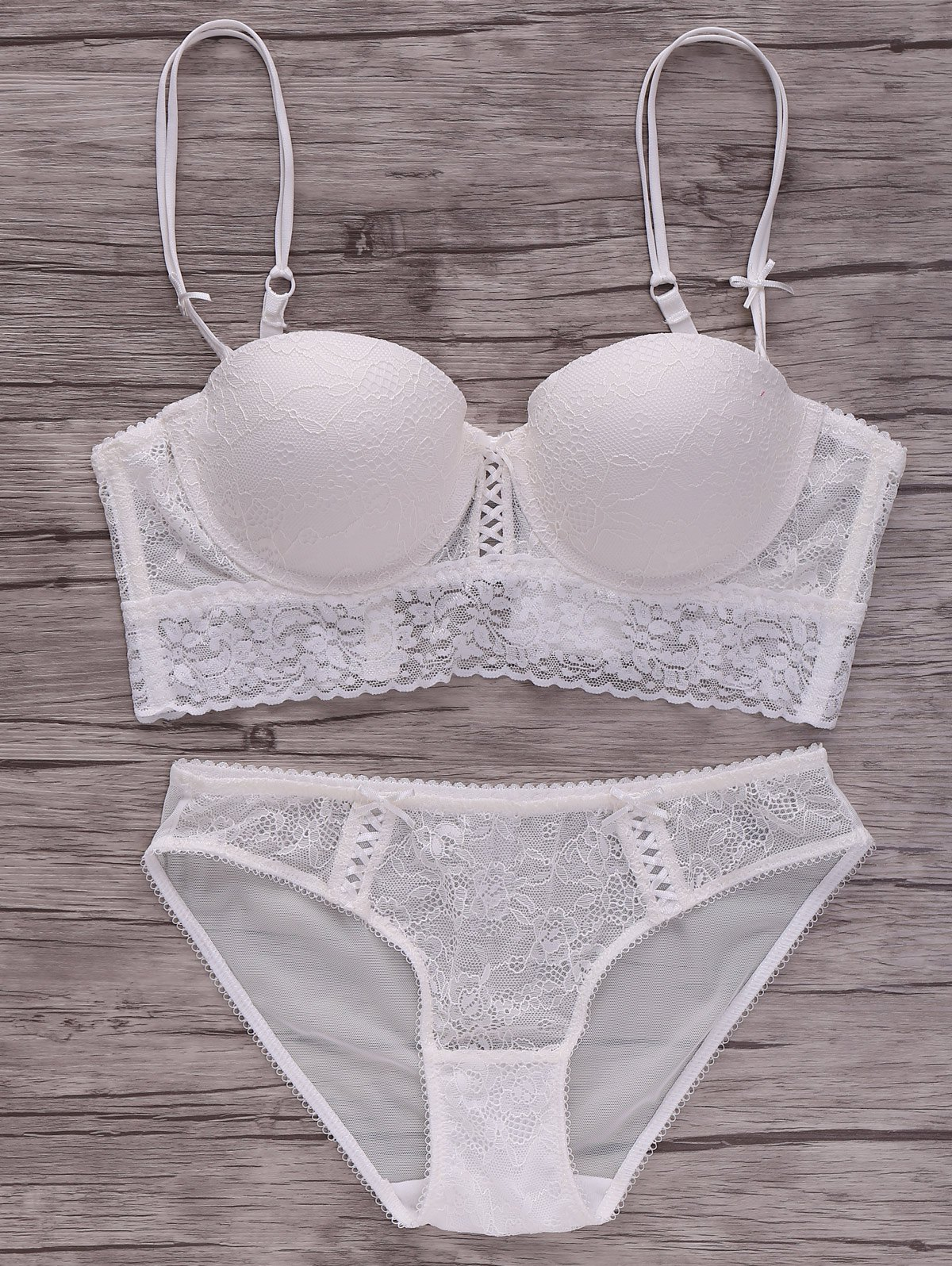 Alluring Lace Spliced Solid Color Push-Up Women's Bra Set - WHITE 80C