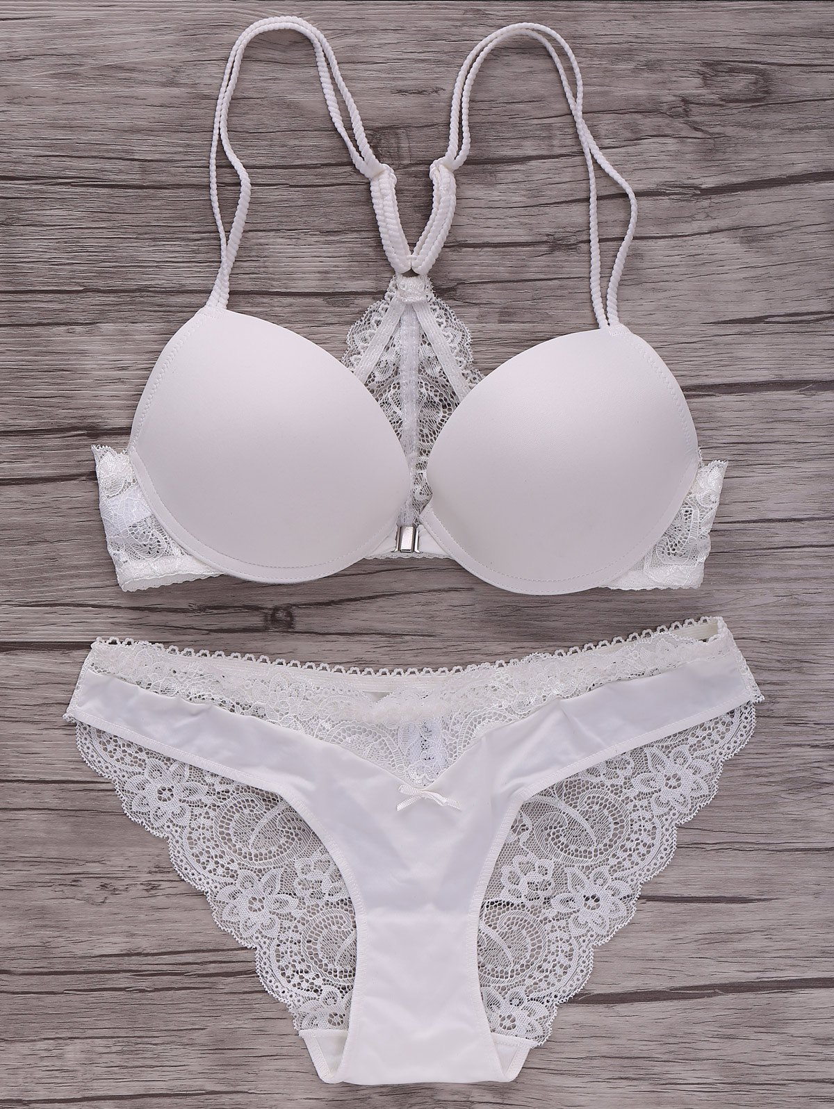 Charming Spaghetti Strap Push-Up Pure Color Lace Spliced Women's Bra Set