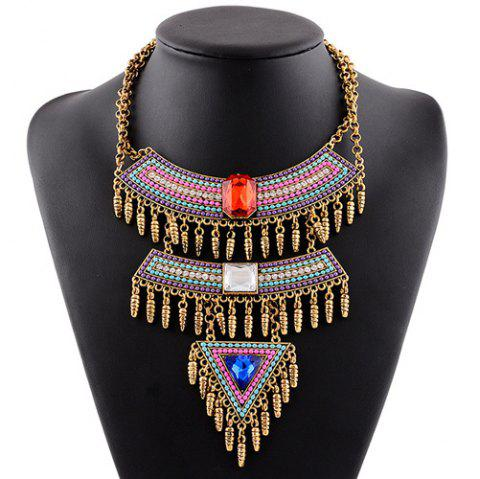 Boho style Multilayer Faux Gem strass Tassel Collier Triangle pour les femmes - multicolore