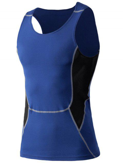 Tight-Fitting Round Neck Qick-Dry Sports Tank Top For Men - BLUE 2XL