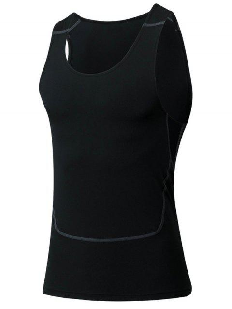 Sport Tight col rond Qick-Dry Tank Top For Men - Noir M