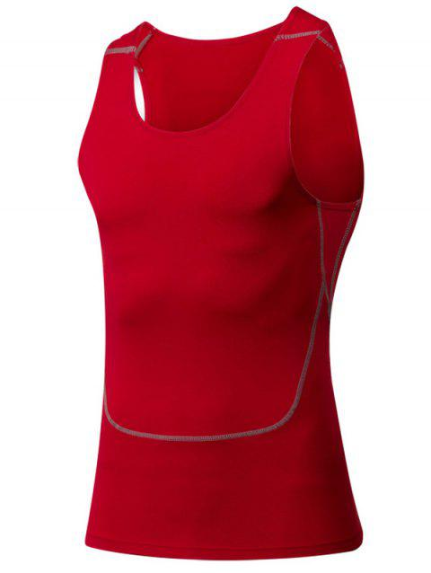 Tight Round Neck Qick-Dry Sports Tank Top For Men - RED S