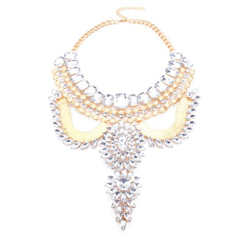 Geometric Rhinestone Artificial Gem Hollow Out Necklace - SILVER