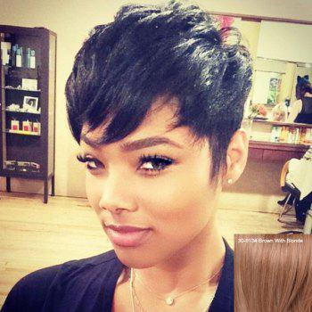 Women's Stylish Layered Short Human Hair Wig