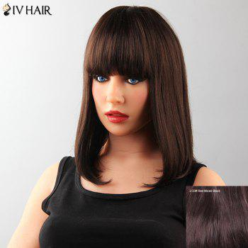 Attractive Capless Neat Bang Medium Straight Tail Adduction Human Hair Siv Wig For Women