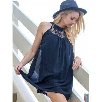 Refreshing Cut Out Lace Spliced Black Chiffon Dress For Women - BLACK L