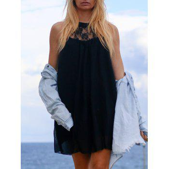 Refreshing Cut Out Lace Spliced Black Chiffon Dress For Women