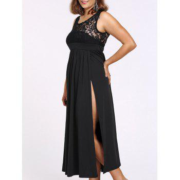 Alluring Women's Lace Spliced Sleeveless Round Neck Dress