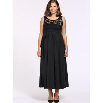 Alluring Women's Lace Spliced Sleeveless Round Neck Dress - BLACK 3XL