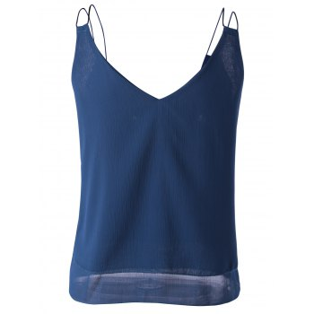 V-Neck Spaghetti Strap Top en mousseline de femmes à la mode - Bleu Marine ONE SIZE(FIT SIZE XS TO M)