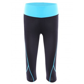 Buy Active Elastic Waist Color Block Bodycon Women's Cropped Yoga Pants BLUE