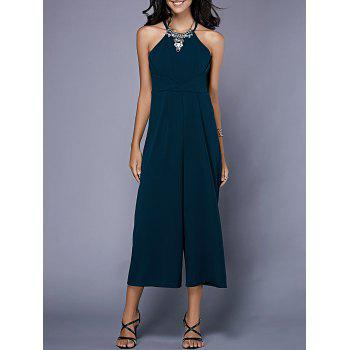 Trendy Open Back Solid Color Sleeveless Jumpsuit For Women