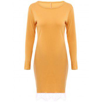 Elegant Women's Round Collar Laced Long Sleeve Dress