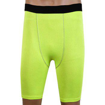 Slim Fit Round Neck Compression Elastic Gym Shorts For Men
