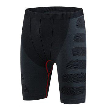 Slim Fit Printing Round Neck Compression Elastic Gym Shorts For Men