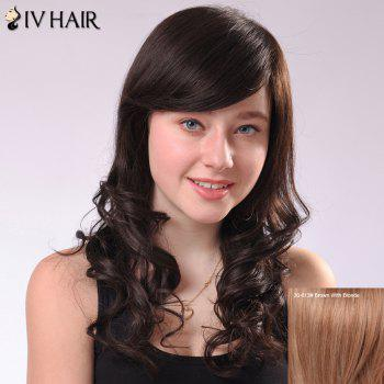 Sweet Side Bang Long Fluffy Wavy Human Hair Capless Siv Wig For Women