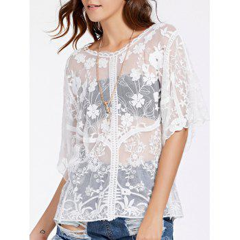 Alluring Round Neck Half Sleeve Women's Lace Blouse