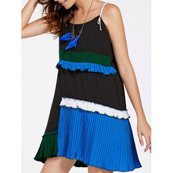 Stylish Asymmetric Spliced Spaghetti Strap Women's Dress
