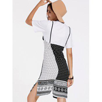 Stylish Women's Short Sleeve Tribal Print Faux Twinset Dress - BLACK ONE SIZE(FIT SIZE XS TO M)