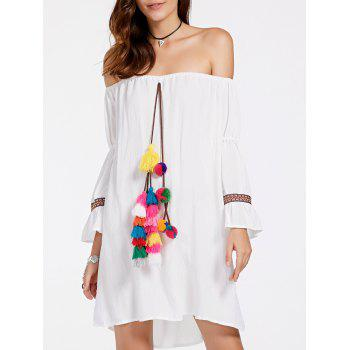 Stylish Women's Off-The-Shoulder Colorful Ball Design Dress