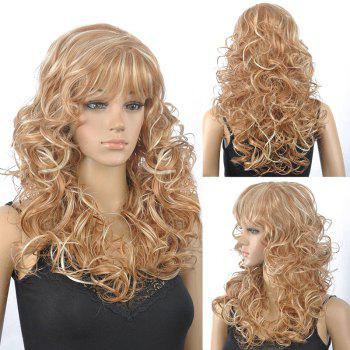 Fluffy Curly Full Bang Synthetic Stunning Blonde Mixed Capless Wig For Women