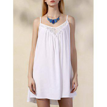 Stylish Chiffon Spaghetti Strap Lace Dress For Women