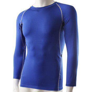 Men's Slimming Solid Color Round Collar Gym T-Shirt