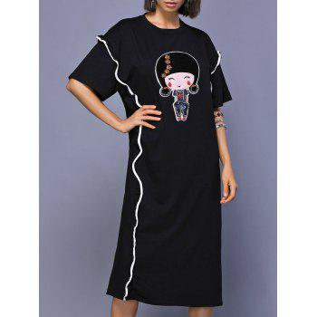 Image of 1 2 Sleeve Cartoon Pattern Loose Fitting Women s Dress