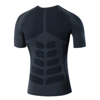 Slimming Men'sElastic Solid Color Round Collar Gym T-Shirt - GRAY M