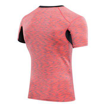 Men's Slimming Elastic Color Block Round Collar Gym T-Shirt - RED L