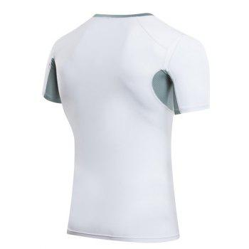Slimming Compression Elastic Color Block  Round Collar Gym T-Shirt For Men - WHITE M