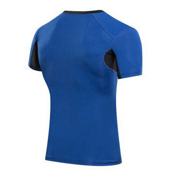 Slimming Compression Elastic Color Block  Round Collar Gym T-Shirt For Men - BLUE M