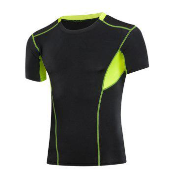 Slimming Compression Elastic Color Block  Round Collar Gym T-Shirt For Men