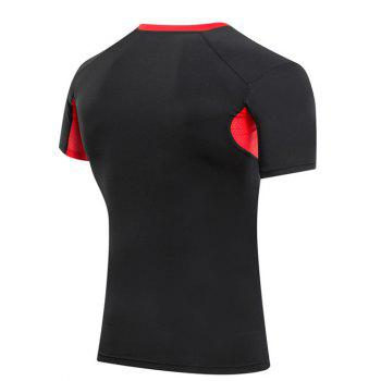 Slimming Compression Color Block Round Collar Gym T-Shirt For Men - RED/BLACK 2XL