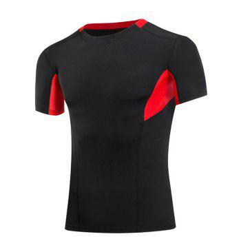 Slimming Compression Color Block Round Collar Gym T-Shirt For Men
