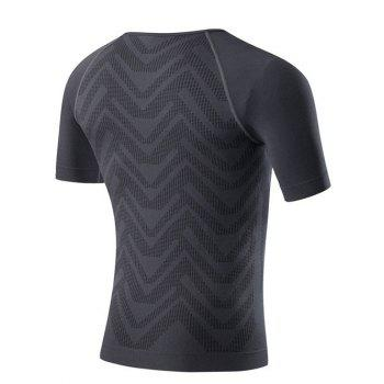 Slim Fit Compression Round Collar Gym T-Shirt For Men - GRAY XL
