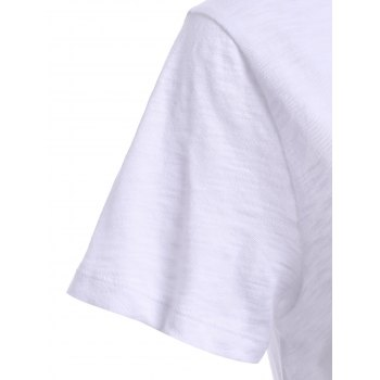 Scoop Neck T-shirt imprimé femmes à la mode d  ' - Blanc XS