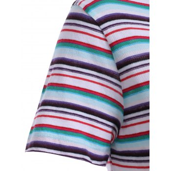 Fashionable Women's Scoop Neck Striped T-Shirt - COLORMIX S